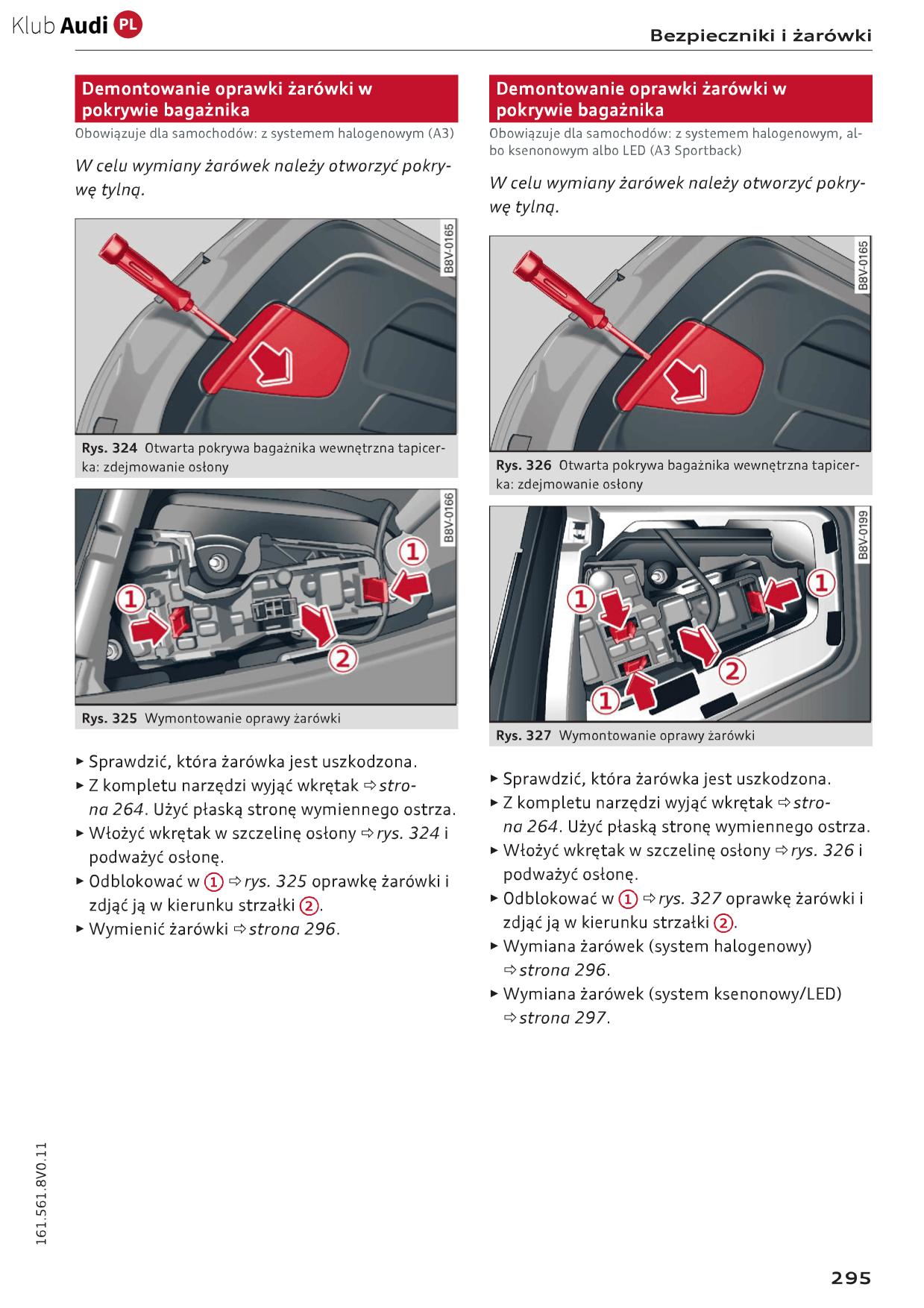 Wymiana żarówki Audi A3 8v